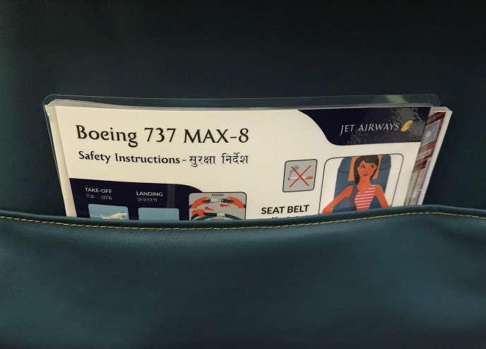 A l'intérieur d'unBoeing 737 MAX, à Bombay, en Inde, en juin 2018.
