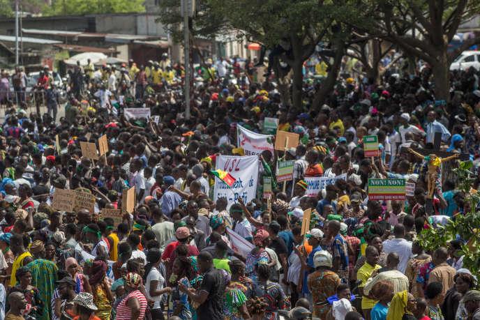 Manifestation à Cotonou, le 11 mars 2019, contre la décision de la Commission électorale nationale autonome de priver l'opposition de participer aux élections législatives du 28 avril.