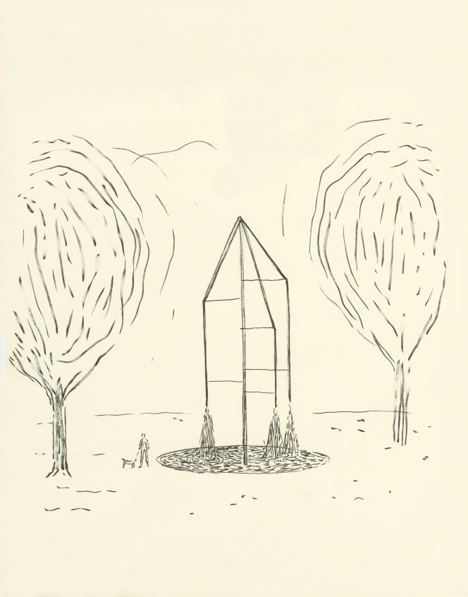 Le dessin préparatoire des fontaines des Champs-Elysées, de Ronan et Erwan Bouroullec.