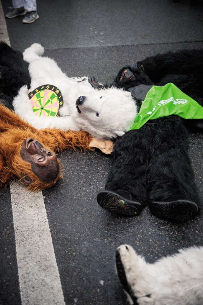 Militants de Greenpeace lors de la marche pour le climat du 8 décembre 2018.