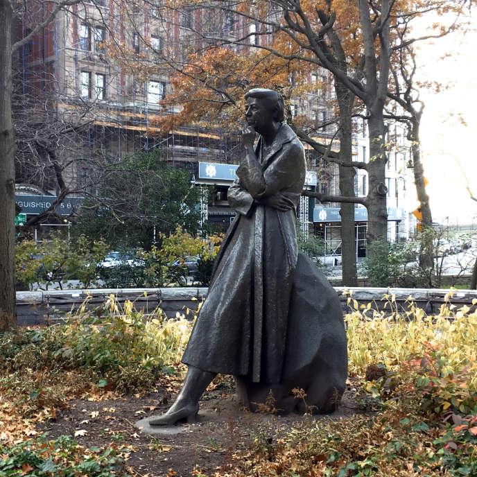 La statue représentant Eleanor Roosevelt, dans le parcRiversideà New York, en 2017.