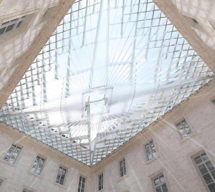 انطباع الفنان عن المظلة المستقبلية للفندق البحري الذي صممه هيو داتون.