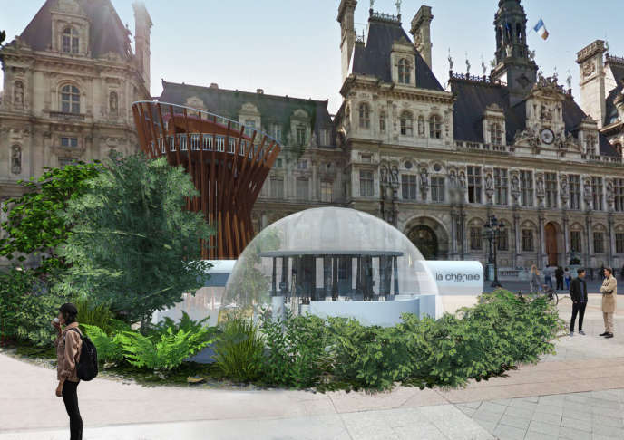पेरिस में सिटी हॉल के वन गाँव का एक 3D दृश्य।