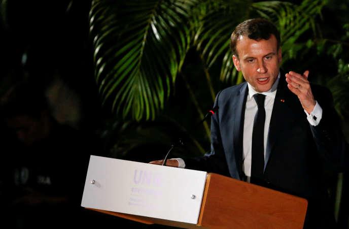 Le président de la République, Emmanuel Macron, le 14 mars à Nairobi.