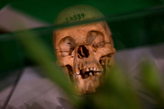 Lors d'une cérémonie de restitution d'ossements des peuples herero et nama à la Namibie, à Berlin, le 29août 2018.