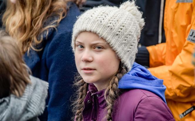 La jeune militante suédoise Greta Thunberg lors d'une manifestation étudiante à Hambourg (Allemagne), le 1er mars.