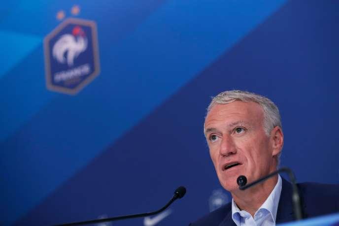 Le sélectionneur de l'équipe de France de football, Didier Deschamps, lors de la conférence de presse du 14 mars à Paris.