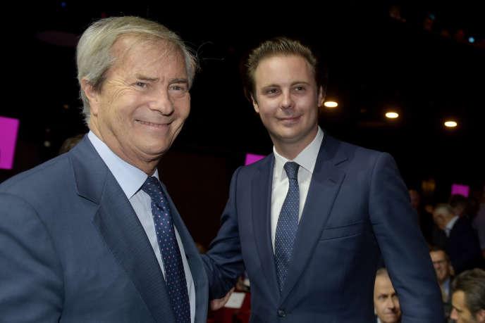 Vincent Bolloré et son fils Cyrille lors de l'assemblée générale de Vivendi, le 19 avril 2018.