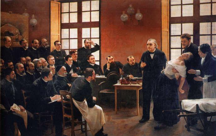 Crise hystérique présentée par Charcot à la Salpêtrière. Peinture d'André Brouillet (1887).