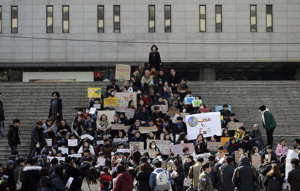 La grève scolaire à Séoul, en Corée du Sud, le 15 mars.