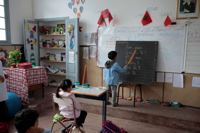 In a classroom at a school in Rabat, Morocco, a student learns French through the words of a rhyme, the 31 January 2019.