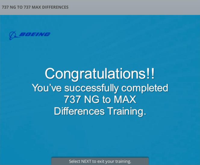 Certification d'aptitude au pilotage du Boeing 737 MAX obtenue après deux heures d'entraînement. Capture d'écran / pilote anonyme