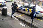 A police officer responds following shooting at Linwood in Christchurch, New Zealand, March 15, 2019, in this still image obtained from a social media video.   Video obtained by Reuters/ via REUTERS  ATTENTION EDITORS - THIS IMAGE HAS BEEN SUPPLIED BY A THIRD PARTY. MANDATORY CREDIT. NO RESALES. NO ARCHIVES.
