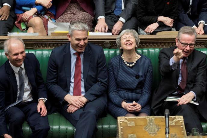 Theresa May, lors du débat pourla demande britannique d'un report du Brexit, à la Chambre des communes, le 14 mars.