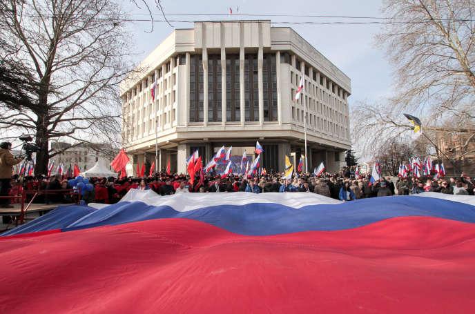 Rassemblement à Simferopol, lundi 18 mars, pour célébrer les cinq ans de l'annexion de la Crimée.