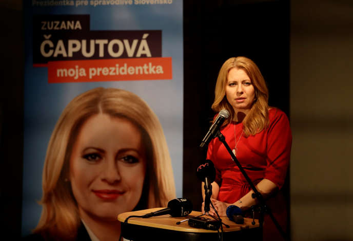 Presidential candidate Zuzana Caputova on the evening of the first round on March 16 in Bratislava, Slovakia
