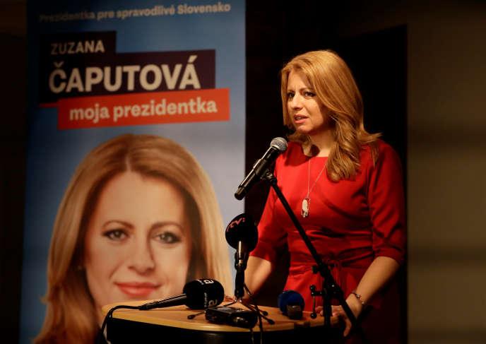 La candidate à la présidentielle slovaque, Zuzana Caputova, à son QG de campagne, à Bratislava, le 16 mars.