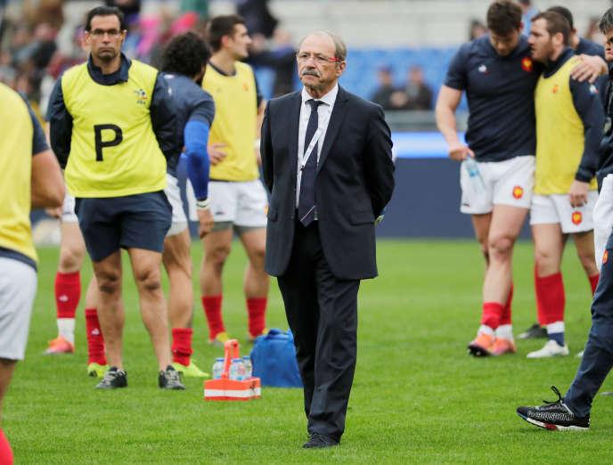 Le sélectionneur du XV de France, Jacques Brunel, samedi 16mars au Stade olympique de Rome.