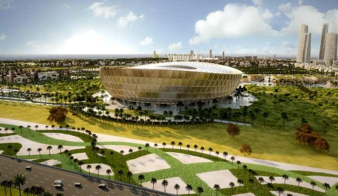 Une image de synthèse du stade de Lusail, au Qatar qui sera construit en vue de la Coupe du monde de football 2022.