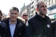 Le premier secrétaire du Parti socialiste Olivier Faure et Raphael Glucksmann, lors de la Marche du siècle pour le climat, le 15 mars, à Paris.