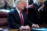 Le président Donald Trump après l'annonce de son veto sur la résolution du Congrès américain pour mettre fin à l'état d'urgence.