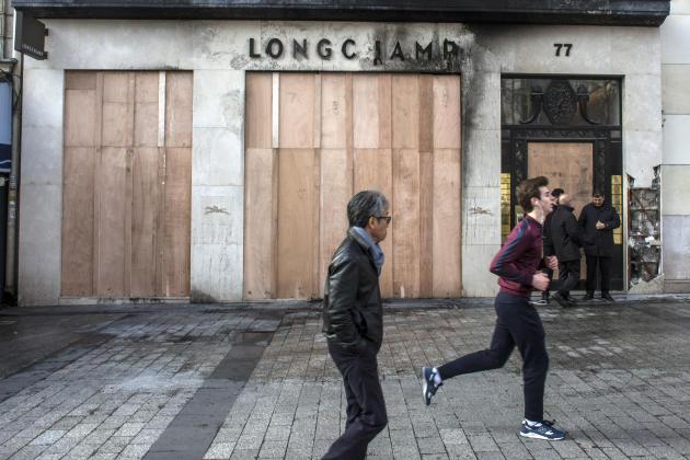 La façade de la boutique Longchamp de l'avenue des Champs-Elysées, Paris, le 17mars2019.