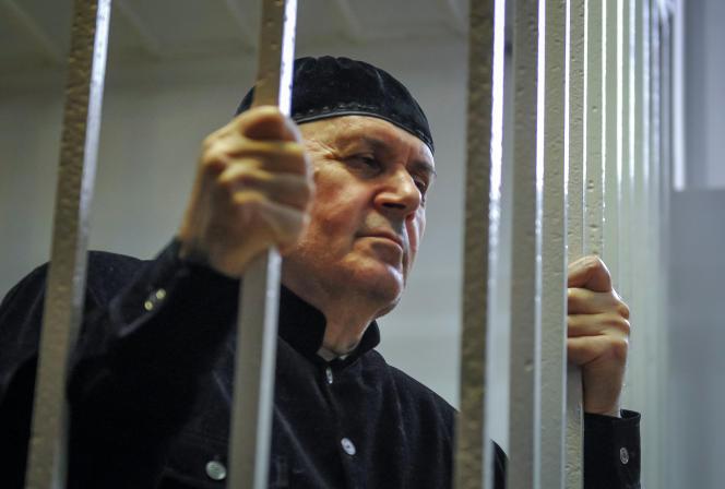 Titiev, lors de son audience de verdict dans un tribunal de la ville de Shali, en Tchétchénie, Russie, le 18 mars 2019.