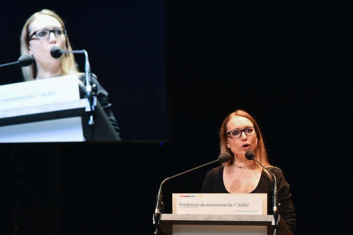Aurore Lalucq lors d'un congrès de Génération.sau Mans, le 2 décembre 2017.