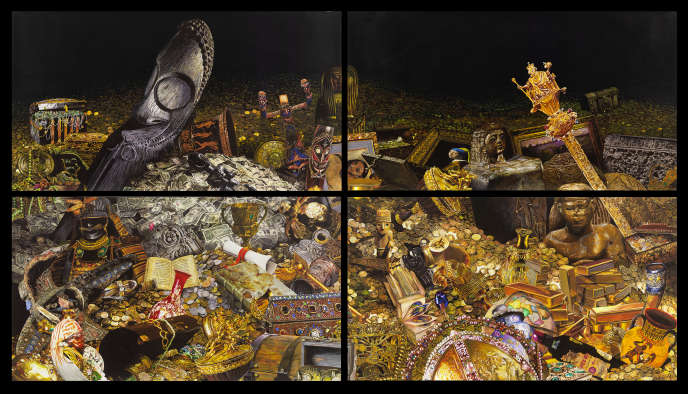 «The Treasure RoomII, 4 panels» de Gilles Barbier (gouache sur papier).