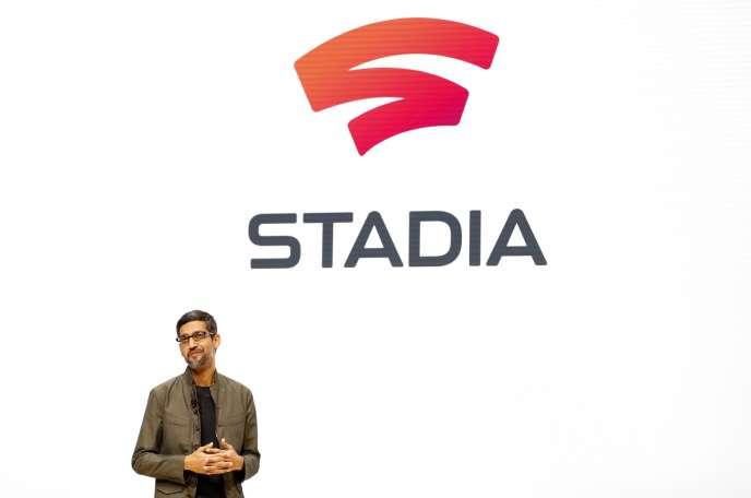 Sundar Pichai, PDG de Google, annonce le service de jeu vidéo de l'entreprise.