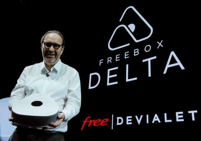 Le fondateur de Free, Xavier Niel (actionnaire à titre personnel du « Monde»), lors de la présentation de la nouvelle Freebox Delta, en décembre 2018, à Paris.