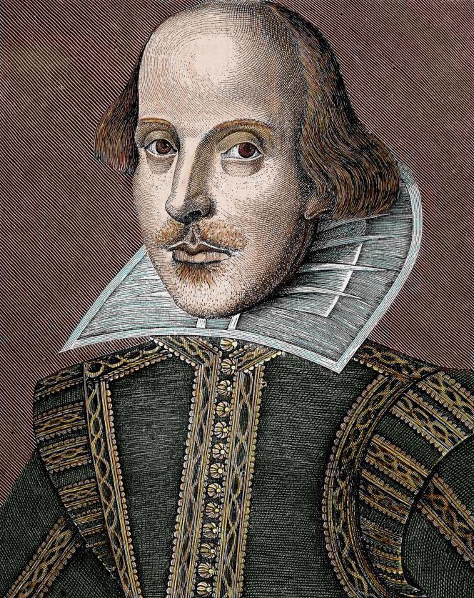 Portrait de William Shakespeare (1564-1616). Gravure colorisée du XIXe siècle.