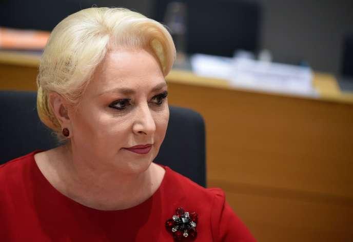 Viorica Dancila, la première ministre roumaine, lors d'un sommet européen àBruxelles, le 20mars2019.