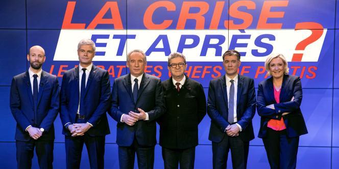 Stanislas Guérini, Laurent Wauquiez, Francois Bayrou, Jean-Luc Mélenchon, Olivier Faure et Marine Le Pen, le 20 mars sur BFMTV.