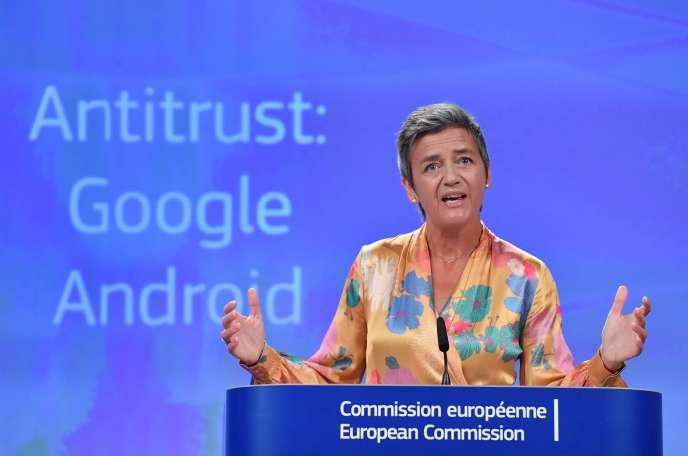 La Commissaire européenne à la concurrence, la Danoise Margrethe Vestager, à Bruxelles, en juillet 2018.