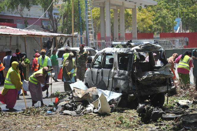 Attentat au véhicule piégé revendiqué par les Chabab, dans le centre de Mogadiscio, en Somalie, le 7 mars 2019.