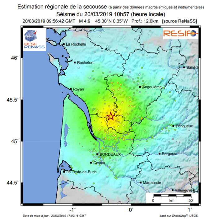 Le séisme a été enregistré à une trentaine de kilomètres à l'est de Pauillac.