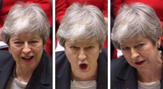 Montage photo montrant la première ministre britannique, Theresa May, à la tribune de Parlement de Westminster lors de la séance du 20 mars.