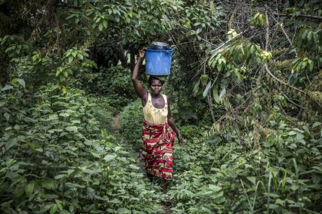 Dianta Saka, 56 ans, rentre chez elle avec de l'eau collectée près du village de Bonde, en République démocratique du Congo, le 26 décembre 2018.