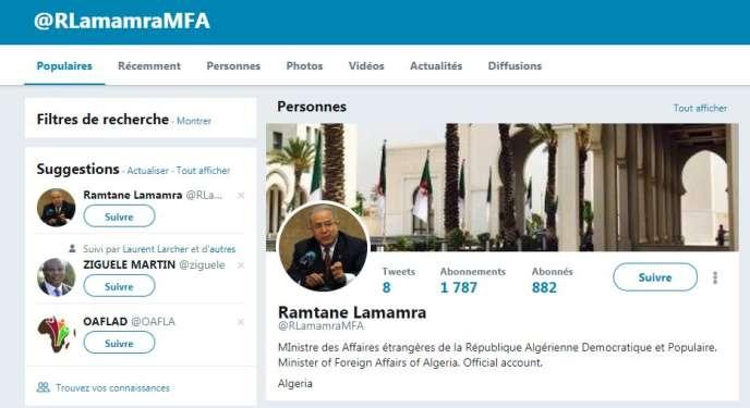 Le faux compte Twitter duministre algérien des affaires étrangères,Ramtane Lamamra.