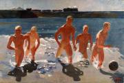 «Donbass, la pause déjeuner» (1935), d'Alexandre Deïneka, huile sur toile.