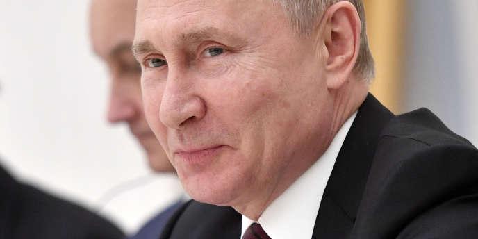 Le président russe, Vladimir Poutine, lors d'une réunion de travail au Kremlin, à Moscou, le 20 mars 2019.