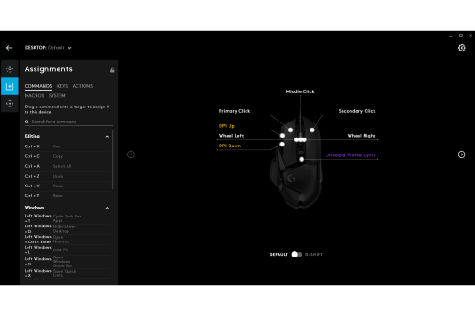 Les options de personnalisation des boutons sont un poil plus complexes sur le logiciel Logitech Gaming que sur Synapse, mais elles demeurent plus accessibles que sur les logiciels d'autres souris de gaming.