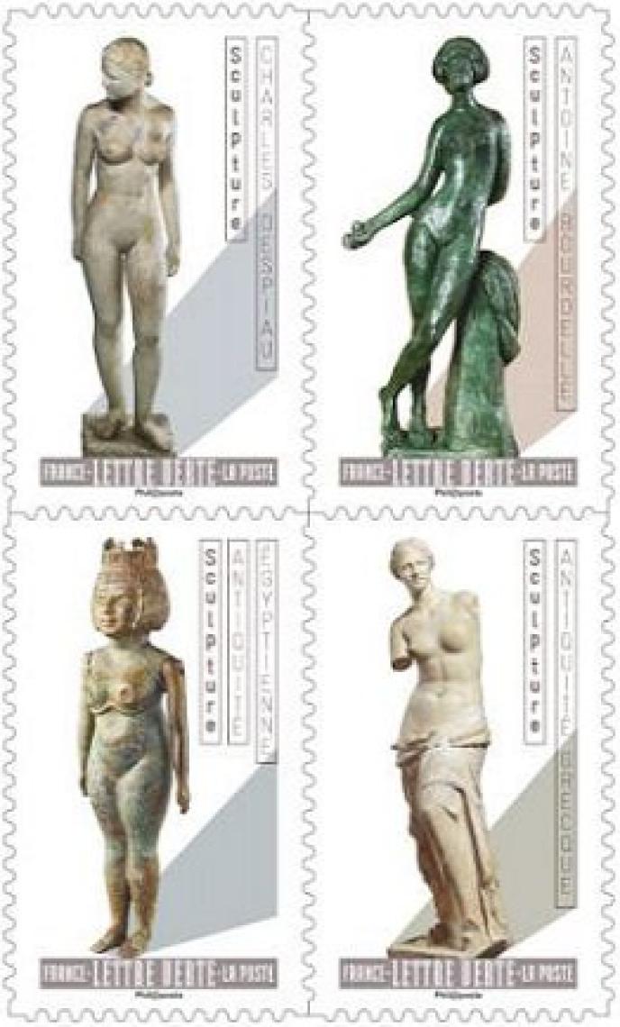 Quatre timbres du carnet de douze sur« Le Nu dans l'art». Mise en page : Sylvie Patte et Tanguy Besset. Héliogravure. 2,5 millions d'exemplaires.