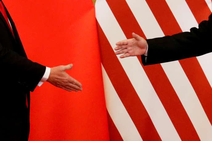 DonaldTrumpet son homologue chinois XiJinping, à Pékin, le 9 novembre 2017.