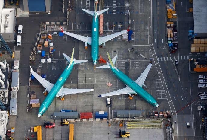 Des Boeing 737 MAX stockés sur une piste de Boeing, à Renton, dans l'Etat de Washington, le 21 mars 2019.