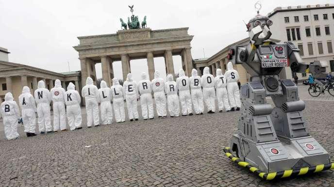 Manifestation contre l'usage des robots tueurs à Berlin, le 21 mars 2019.