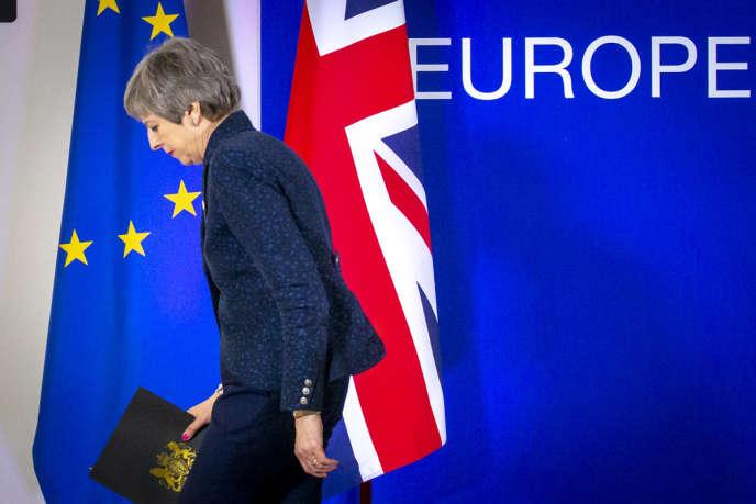 La première ministre britannique, Theresa May, le 22 mars lors du premier jour du sommet européen à Bruxelles.