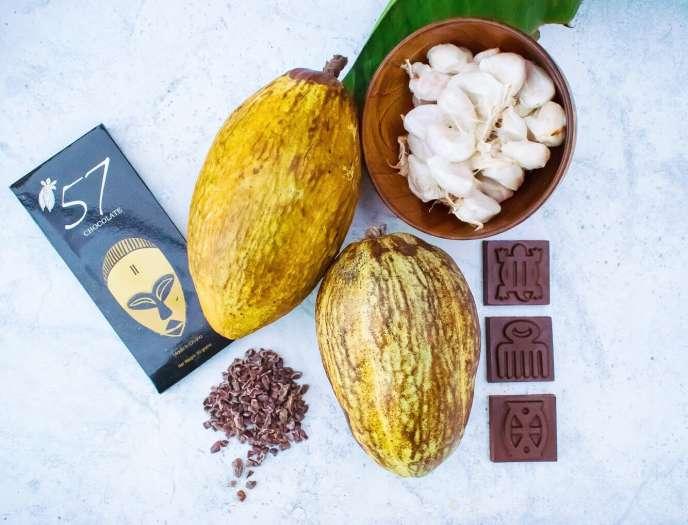 Une tablette et des chocolats de la marque 57 Chocolate.
