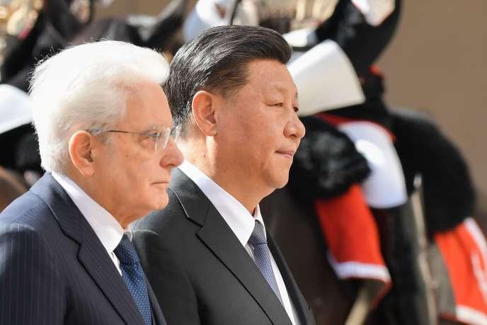 Le président Xi Jinping et le président italien Sergio Mattarella, le 22 mars, à Rome.